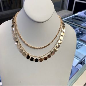 3 layer gold plated necklace